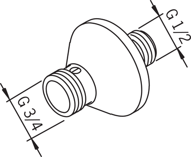 Oras, Straight connector with flange, 204120W