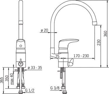Oras Vega, Kitchen faucet with dishwasher valve, 1839F