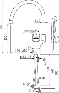 Oras Safira, Washbasin faucet with washing machine valve, 1034J-01