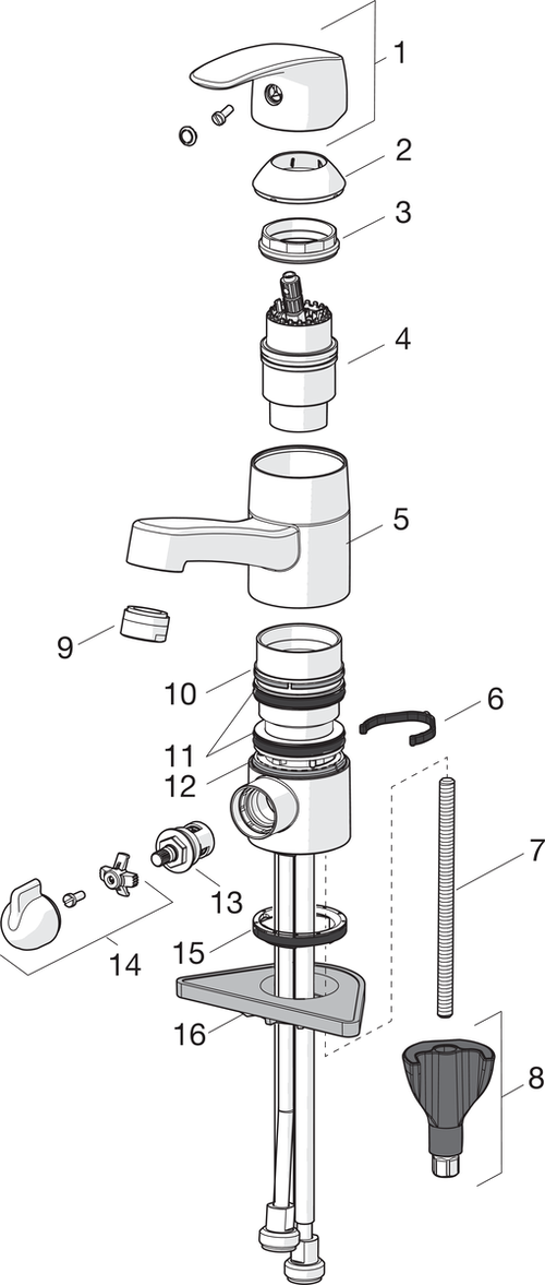 SP1014 Washbasin faucet with washing machine valve