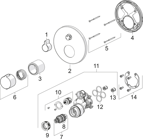 SP2077 Cover part for shower faucet