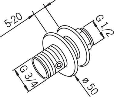Oras, Shower cabin coupling with stop valve, 287525