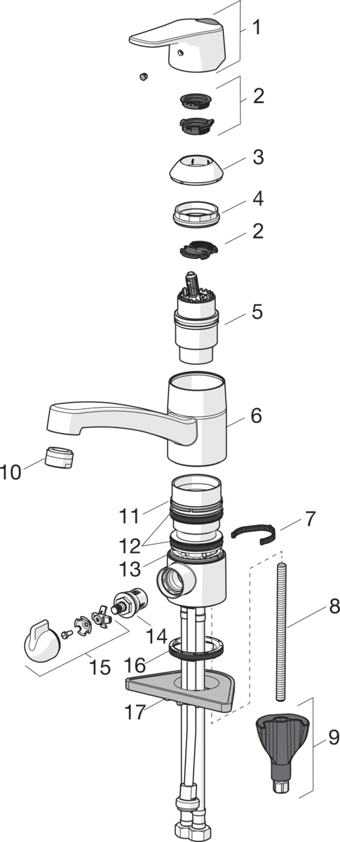 SP1825FG Kitchen faucet with dishwasher valve