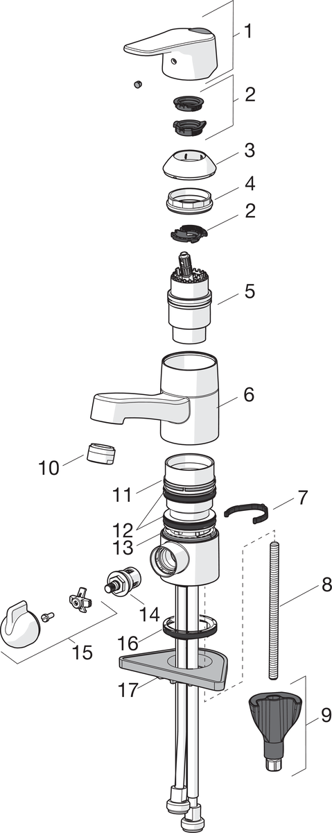 SP1814G Washbasin faucet with washing machine valve
